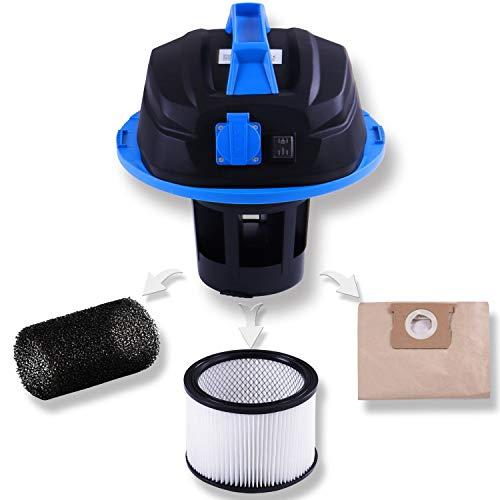 Masko® Industriestaubsauger – blau, 1800Watt ✓ Mit Steckdose ✓ Blasfunktion ✓ GS-Geprüft | Mehrzwecksauger zum Trocken-Saugen & Nass-Saugen | Industrie-Sauger verwendbar mit & ohne Beutel | Wasser-Staubsauger beutellos mit Filterreinigung - 3