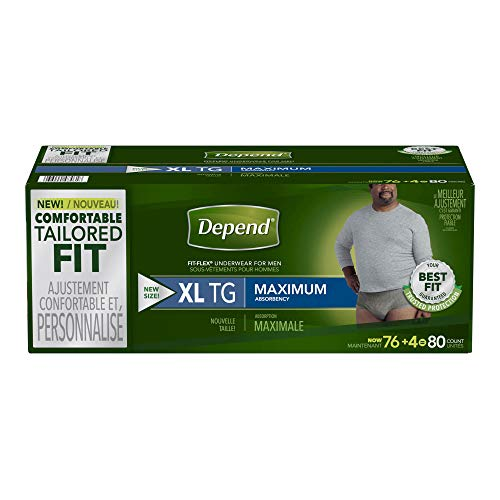 Depend Fit-Flex Extra Large Maximum Absorbency Underwear for Men, 80 Count