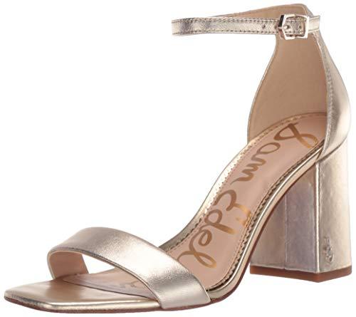 Sam Edelman Women's Classic Daniella Heeled Sandal, Molten Gold Metallic Leather, 6.5 M US