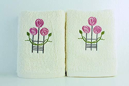 Lexs Linens - Toalla de mano (2 unidades), diseño de rosas bordadas, color crema