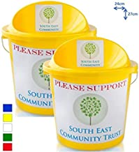 Labels and Ties Light Blue 3 Charity Money Collection Buckets with Lids