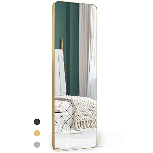 "Upland Oaks Large Full Length Body Mirror for Floor & Wall in Bedroom - Metal Frame - Big & Tall Long Mirror for Leaning - Full Length Wall Mirror Size 65"" x 21"" (Gold, Slim Lip)"