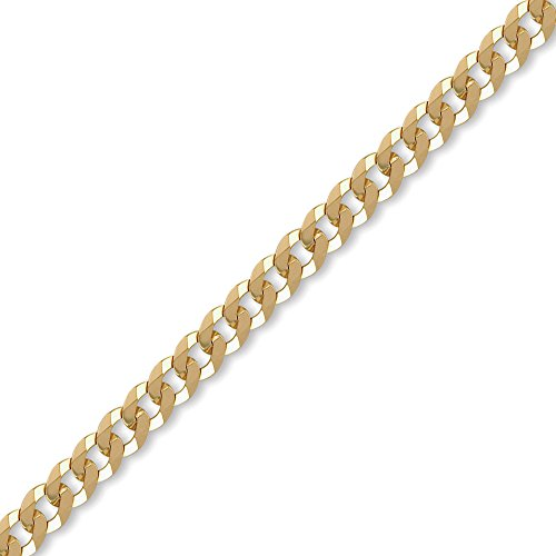 Jewelco London Ladies Solid 9ct Yellow Gold Flat Curb 7mm Gauge Chain Bracelet, 7.5 inch