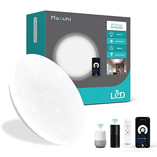 Plafon LED Techo Regulable 24W, Maxuni Smart WiFi 2700K-6500K Lamparas de Techo, compatible con Alexa y Google Home Ø28,5cm IP54 2000LM, apto para salón, dormitorio, baño. [eficiencia energética A ++]