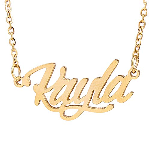 HUAN XUN Carrie Name Golden Name Necklace for Girls Women Jewelry, Kayla