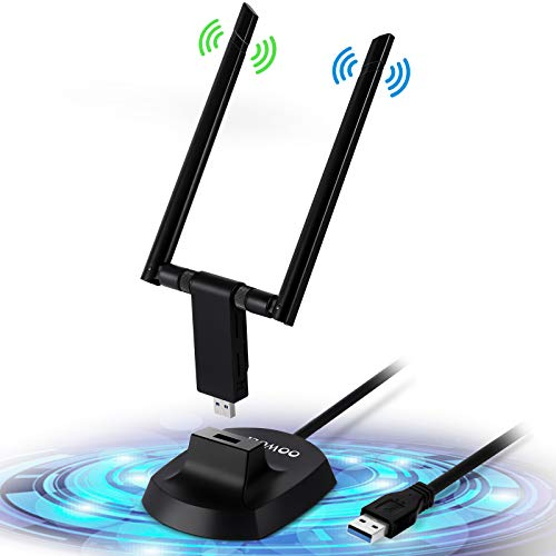 OOWOLF Adattatore WiFi USB 3.0 1200Mbps, Chiavetta WiFi USB 3.0, Dual Band Wireless con Antenna 5dBi 2.4GHz / 300Mbps 5.8GHz / 867Mbps per PC/Desktop, per Windows XP/Vista / 7/8/10, Mac