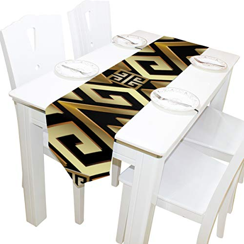 Yushg Abstrakte Manders Ornament Kommode Schal Stoffbezug Tischläufer Tischdecke Tischset Küche Esszimmer Wohnzimmer Home Hochzeitsbankett Dekor Indoor 13x90 Zoll