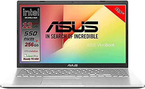 Asus Vivobook notebook, SSD NVME da 256Gb, Cpu Intel N4020 fino a 2.8Ghz, RAM 12Gb DDR4, Display da 15,6 HD, wi-fi, 3 Usb, Bt, Win 10 pro, Pronto All'uso Gar. Italia