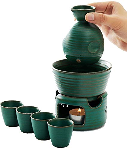 WJJ Sake Set with Warmer Sake Set With Warmer Pot And Candle Stove, 7 Pieces Ceramic Malachite Green Glaze Wine Glasses Set, For Cold/Warm/Hot Sake/Shochu/Tea Sake Set Lyty