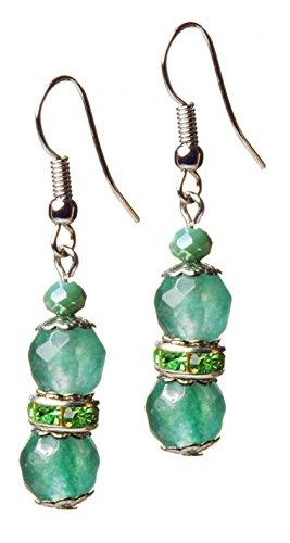 Boucles d'oreilles en jade, couleur vert pistache