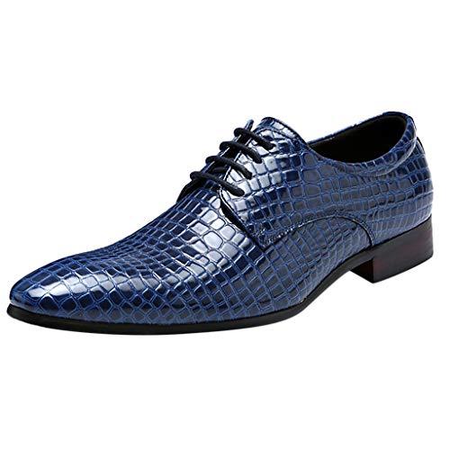 Celucke Derby-Schuhe Herren Schnürhalbschuhe Spitz Derbys in Kroko-Optik, Hochzeit Party Smoking Schuhe Männer Anzugschuhe Oxford Casual Schnürschuhe