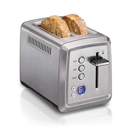 Hamilton Beach Digital 2 Slice Extra Wide Slot Stainless Steel Toaster with Bagel & Defrost Settings, Toast Boost, Slide-Out Crumb Tray, Auto-Shutoff...