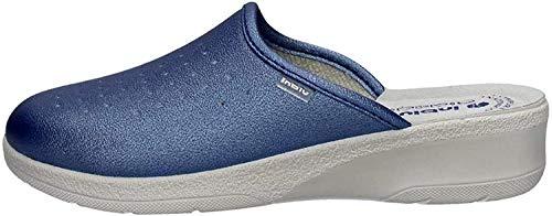 inblu 50000033N Jeans Ciabatte Donna Sottopiede Vera Pelle ANATOMICO Zeppa 3,5 CM Azzurro 35