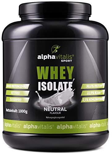 Whey Protein Isolate Neutral - H²O-optimiert - 90% Protein! - Neutrales Eiweiß Pulver - Zuckerfrei - Fettfrei - 1000g WPI Eiweiss ohne Süßstoff