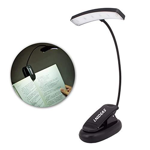 LNSTUDIO Leselampe Buchlampe mit 6 LED, Wiederaufladbare Leseleuchte mit 3 Stufe Helligkeit, Flexibel 360°Tischlampe mit USB Kabel und Batterie,LED Leselampe mit Klammer für Kindle,ideal für Kinder