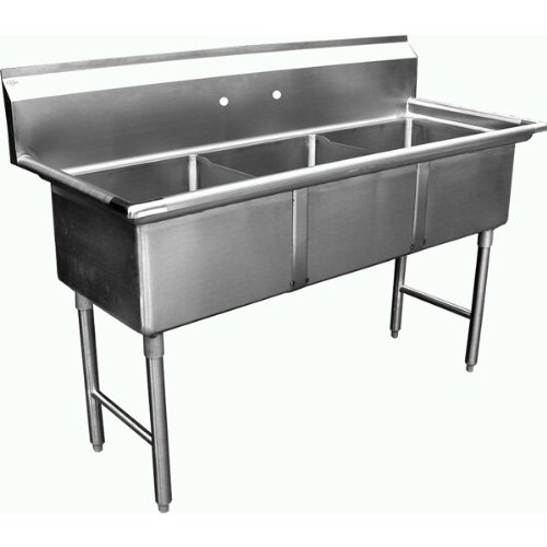 """Allstrong ALLST-SH24243N 3 Compartment Sink, 24"""" x 24""""x 14""""/Large/One Size, Stainless Steel/Silver"""