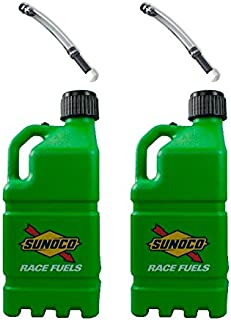 2 Pack Sunoco 5 Gallon Green Race Utility Jugs and 2 Deluxe Filler Hoses