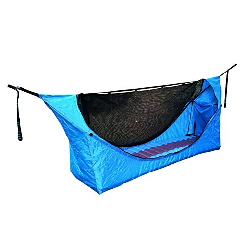 Hamaca para acampar con mosquitera, con colchón inflable Tela de paracaídas duradera ultra impermeable Nylon portátil para viajes de mochilero individual 190x60x90cm Hamaca portátil para exteriores