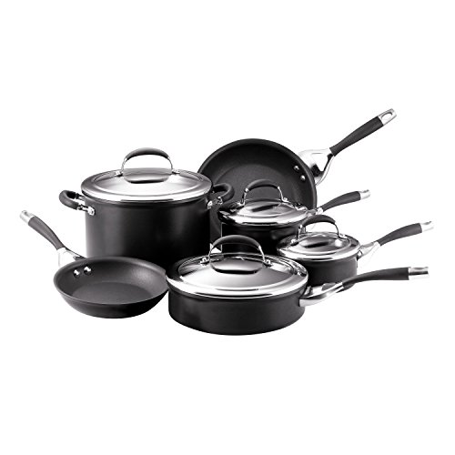Circulon Elite Hard Anodized Nonstick Cookware Pots and Pans Set, 10 Piece, Charcoal