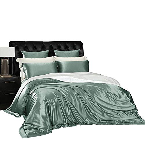 Fantastic Prices! Bed Set Four Paper Set 100% Mulberry Silk Concise European Sheet Bedding Article,Moonlight Silver,2.0m
