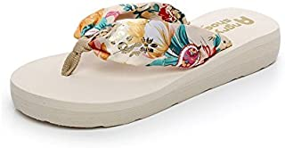 DeSen Women's Floral Summer Satin Wedge Flip Flops Runs Small, Order Size UP