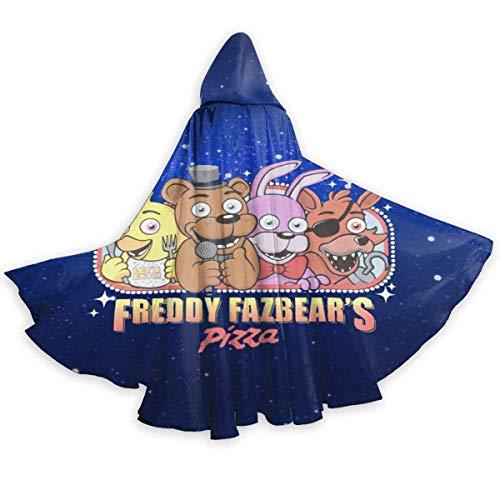 bishishengbibaihu Freddy Fazbear Pizza Erwachsene Kostüme Umhang Umhang mit Kapuze für Halloween