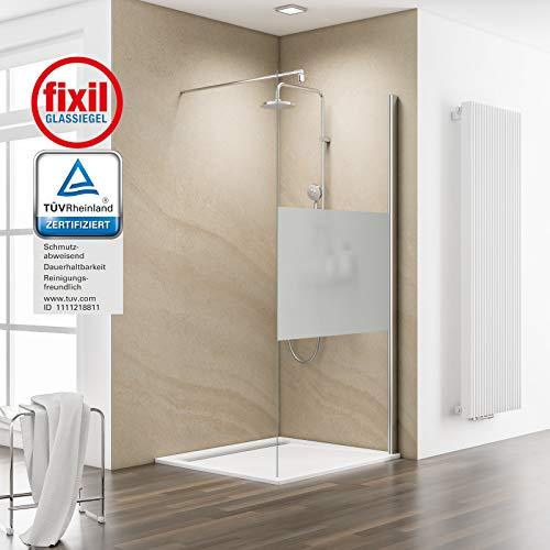 Schulte EP120120 41 500 Duschwand MasterClass Walk In M6, 120 x 200 cm, 6 mm Sicherheitsglas klar hell fixil beschichtet, chromoptik, Montage auf Duschwanne oder Fliese