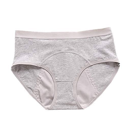 jingxiaopu Braguitas Menstruales Ropa Interior Mujer Respirable Bragas Menstruales NiñAs Prevenir Fugas Laterales Braguitas Mujer Algodon CóModo Bragas NiñA Gray,Large