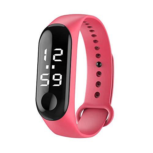 Tonsee LED Digitalanzeige Armbanduhr Fitness Armband Silikon Stoppuhren Sportuhren Schrittzähler Kalorienzähler Sport Smart Uhr Mode Sport Uhr Schrittzähler Uhr für Damen Herren und Kinder (Rosa)