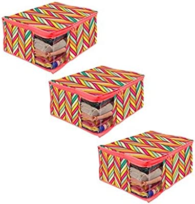 PrettyKrafts Saree Cover Large with Creative Prints, Saree Storage Bag with Zip, Wardrobe Organiser, Clothes Cover & Storage, Waves Red, Set of 3 pcs