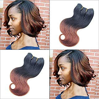 8 Inch Ombre Body Wave Human Hair 6 Bundles For Bob Hairstyles 50g/bundle #T1B/33 Honey Brown Two Tone Short Brailian Hair Extensions Body Wavy Human Hair Quick Weave For Black Women (8inch6pc, T33)