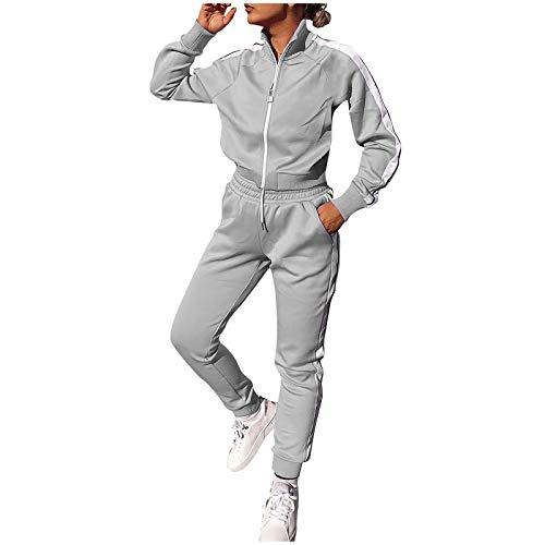 Lazzboy Jogginganzug Frauen Solid Patchwork Reißverschluss Cardigan Sportswear 2pc Loungewear Damen Anzug Sets Trainingsanzug Sportanzug Hose Jacke Streetwear ( Grau,S )
