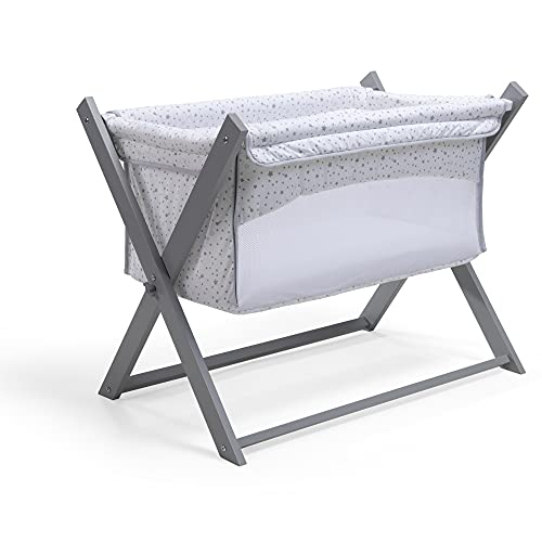 Clair de Lune Grey Folding Breathable Crib - Safe Baby Space - Travel Cot - Side by Side Sleeper - Free Fitted Sheet and Mattress - Stars and Stripes