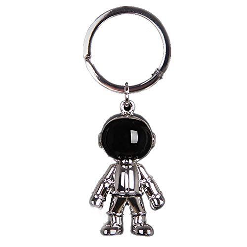 Cool Astronaut Keychain Pendant, Space Robot Keyring for Men Women, Car Key Holder, Bag Charm,Gifts for Boys Girls (Silver)