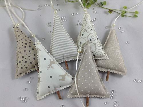 6 Tannenbäume aus Stoff in sand/taupe/natur Tönen,Bäume,Weihnachtsdeko,