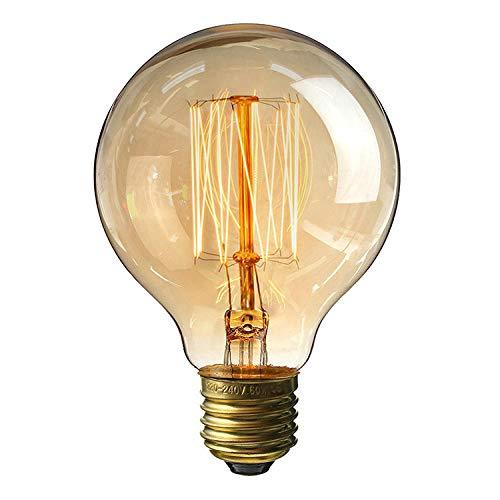 Dekorative Leuchtmittel Glühlampen 2 Packung G80 gerader Draht 40W Edison Retro Wolfram Glühbirne Reis Hause kreative industrielle Wind Bar Runde Birne