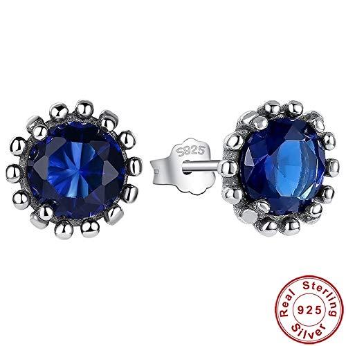 925 Plata Azul Cz Girasol Pendientes Mujer Plata Bonita Flor Pendientes