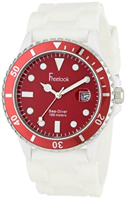 Freelook Men's HA1433-2H Sea Diver Jelly White Silicone Band with Red Dial Watch
