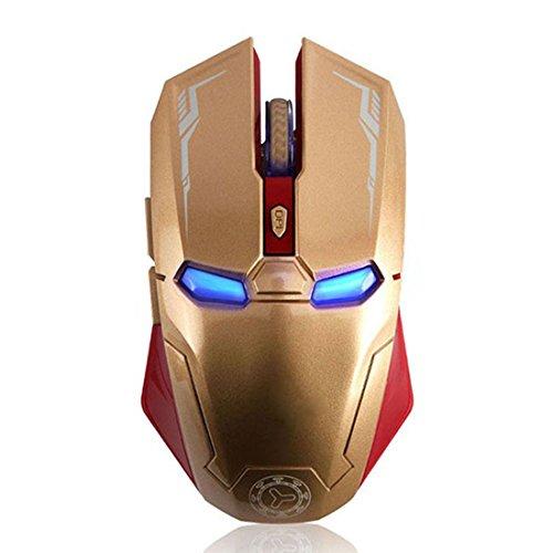 Taonology Mouse da Gioco Wireless Iron Man Mouse Bluetooth 2.4G con Ricevitore USB Nano per PC, Laptop, Computer, MacBook, Notebook, 3 Livelli di Regolazione DPI