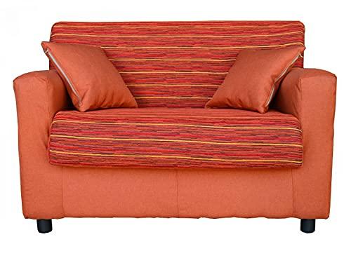 Divano mini sfoderabile 2 posti in tessuto imbottito con braccioli larghezza 118 cm (Arancio 2)