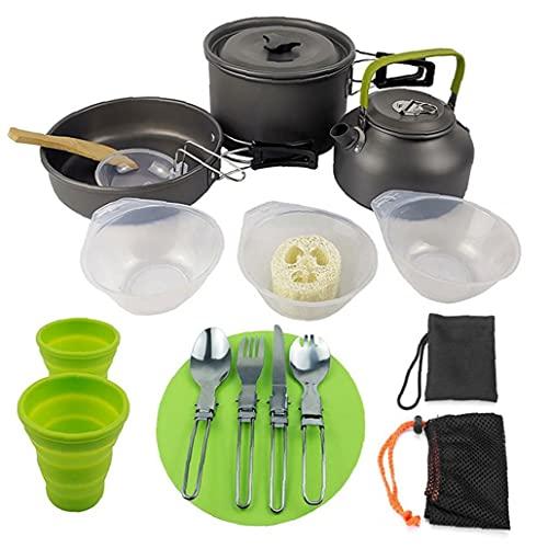 Campo De Juego De Utensilios, Meetsun Acampa Cocinando Conjunto Mess Kit Portátil con Mochila De Engranajes con Antiadherente Olla Hervidor Camping Ollas Y Sartenes