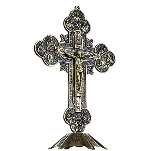 Religieuze geschenken Jezus Christus op kruis standbeeld tafelblad kruisbeeld kruis woondecoratie