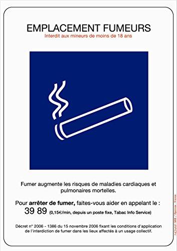 Panneau Emplacement fumeurs - Rigide 210x297mm - 4600031