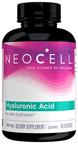NeoCell Hyaluronic Acid, Daily Hydration for Skin Hydration & Suppleness, 100mg ,60 Capsules (Package May Vary)