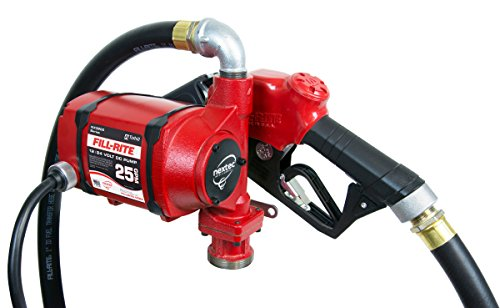 Fill-Rite NX25-DDCNB-AA 12V / 24V 25 GPM Continuous Duty Bung Mounted Fuel Transfer Pump w/Discharge Hose & Automatic Nozzle,Red
