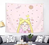 Japanese Anime Sailor Moon Tapestry Wall Hanging Girls Home Decorations for Living Room Bedroom Dorm Pink 50' x 60'