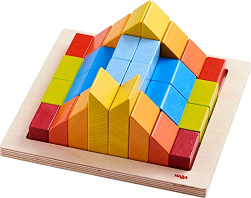 HABA 3D Arranging Game Creative Stones with 28 Wooden Blocks and 15 Double Sided Template Cards with 3 Degrees of Difficulty for Ages 2-6 (Made in Germany)