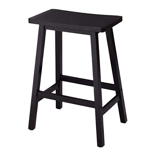 "Heize best price Set of 2 Black 24"" Wood Bar Bistro Dining Kitchen Pub Chair Furniture High Bar Stool High Counter Chair Outdoor Patio Furniture (U.S. Stock)"