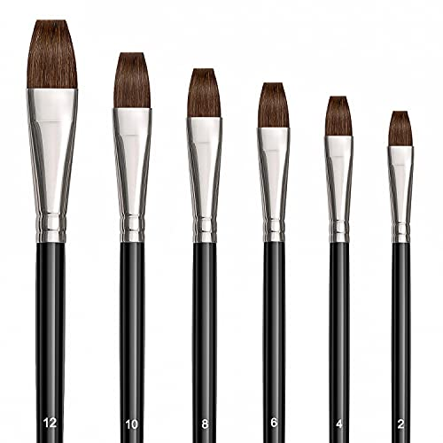 6 Pieces Flat Paint Brush Artist Sable Brush Set with Wooden Handle for Watercolor, Acrylic and Oil Painting Perfect for Beginners, Artists and Painting Lovers(Golden Maple Series