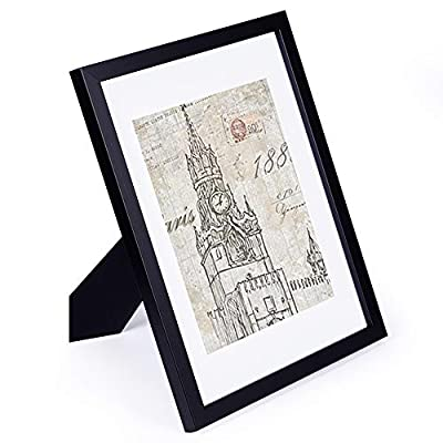 CMYK 11x14 Black Picture Frame,Anti-Corrosion Wood Photo Frame to Display 8x10 in with Mat Photo or 11x14in Without Mat Photo for Wall or Table Top Decor,Certificate or Document Frame